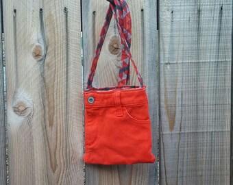 Denim messenger bag, cell phone pouch, crossbody bag denim, purse orange jeans, travel bag, recycled jeans, shoulder bag, denim tote bag D67