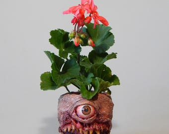Toothy McBitey Demon Thingy - Planter - Flower Pot - OOAK Sculpture - Tool Holder - Body Horror - Plant