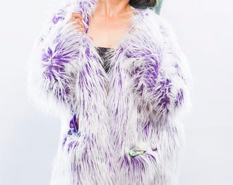 Soft Purple Frosted Faux Fur Coat