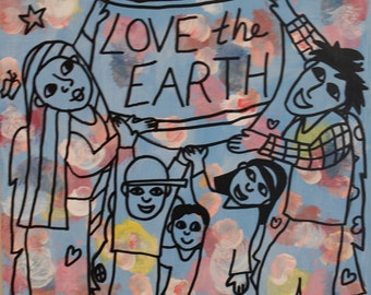 Angels Love the Earth painting/wall hanging