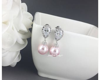 Pink Earrings Swarovski Earrings Dangle Earrings Bridal Earrings Wedding CZ Earrings Bridesmaid Gift for Her Rosaline Earrings Blush Wedding