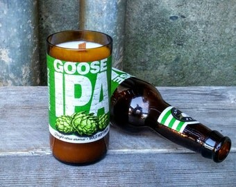Craft Beer Soy Candle, Upcycled Chicago Goose Island IPA 12oz Glass Bottle