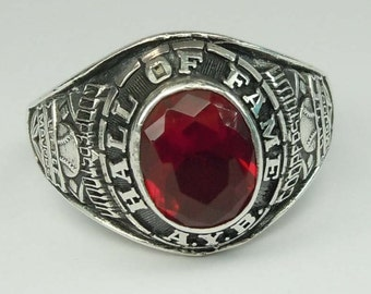 Vintage Men's Hall of Fame LITTLE MAJORS Cooperstown Sterling Silver 925 Red Class Ring Baseball