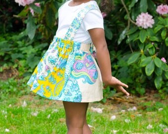 Suspender skirt, skirt, blue skirt, african print skirt, girls skirt, toddler skirt, demask, kente skirt, yellow, blue, summer skirt, braces
