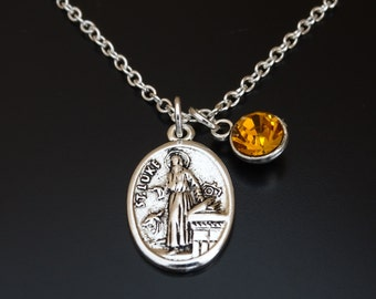 Saint Luke Necklace, Saint Luke Charm, Saint Luke Pendant, Saint Luke Jewelry, Patron Saint of Artists Doctors Surgeons Students, Medical