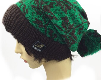 Slouchy Beanies, knitted hat, slouch beanie hat, womens hat, girls beanie, Slouchy Beanie Hat, Hat with pom pom, Bobble hat, Green hat