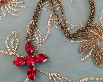 Ruby RED Jane Austen cross, reproduction necklace, antique gold, handmade by Dames a la Mode, NEW, never worn