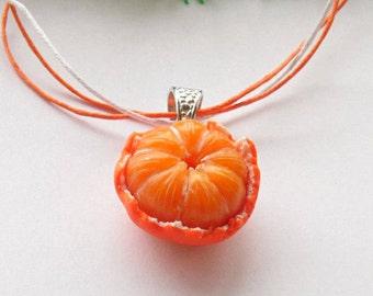 Mandarin pendant tangerine necklace polymer clay jewelry mandarin jewelry fruit jewelry orange jewelry vegan jewelry gift for her fake food