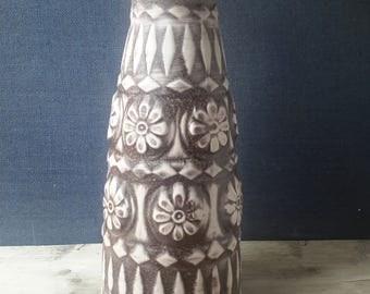 West Germany vase Bay Keramik 76-35 , 70's, German pottery vase floral design, Retro vase German Ceramics matt glaze,