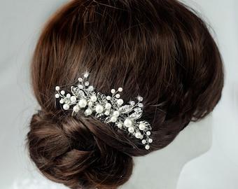 Wedding hair comb Vintage hair comb Bridal hair comb Bridal hair piece Wedding headpiece Bridesmaid Silver hair comb Leaf Crystal hair comb