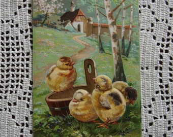 Antique Easter Post Card, Dated 1907, Chicks Playing, Country Scenery, Embossed Easter Greeting, Holiday Collectible Ephemera ~