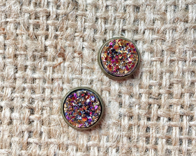 Rose Gold Druzy Studs, Druzy Stud Earrings, Metallic Druzy Studs, Faux Druzy Studs, Druzy Post Earrings, Rose Gemstone Studs