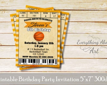 Basketball ticket invitation, basketball invitation, Printable birthday basketball invitation, basketball access card invitation