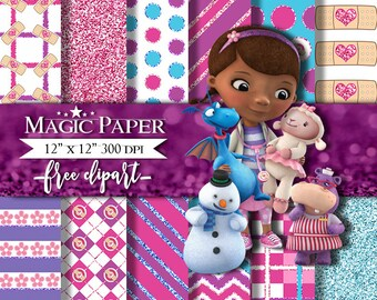 50% OFF SALE Doc Mcstuffins Digital Paper, Papers Scrapbook