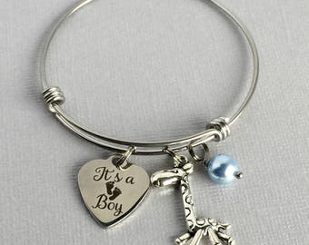 Baby Boy Bracelet, It's a Boy Charm Bangle, New Baby Gift, Baby Announcement Jewelry, Gender Reveal, FAM003