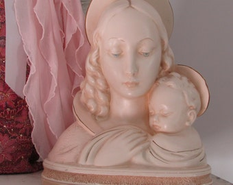Blue Eyed Madonna Virgin Mary and Child Chalkware Large Statue Alexander Backer