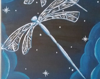 Dragonfly sky, dragonflies at night, whimsical painting, night painting, dragonfly painting, blue dragonflies, starry sky, starry night,