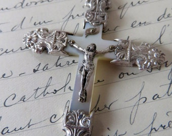 Antique French, Mother Of Pearl And Silver Crucifix, SHIPPING INCLUDED