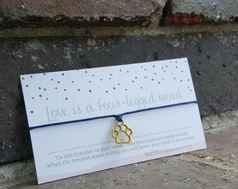 Cat Mom Jewelry, Cat Bracelet, Cat Jewelry, Cat Mom Gift, Paw Print Charm Bracelet, Cat Lover Bracelet, Paw Print Wish Bracelet, Paw Print
