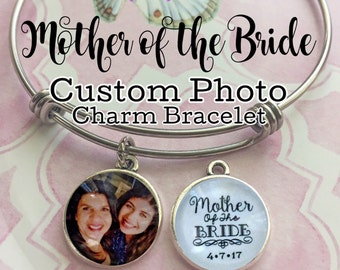 Mother-of-the-Bride Gift, Personalized Wedding, Photo Charm Bracelet, Mother of Bride Charm, Mother Gift from Bride, Custom Jewelry for Mom