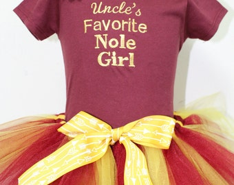 FSU baby girl outfit, Florida State Seminoles girl outfit, Noles baby tutu, Garnet and Gold tutu, FSU headband,Uncle's Favorite Nole outfit