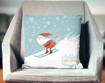 "Christmas Pillow Covers - ""Santa Skiing"" Pillow Case"