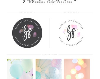 Bubbles Logo Design Pastel Colors Logo Event planner Logo Party Logo Blog Branding Logo Set