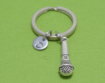 Microphone Keychain, Singer Keychain, Mic Keychain, Karaoke Keychain, Band, Singing, Musician, Performer, Music Lover, Song, Personalised