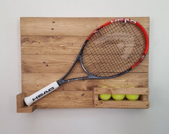 Tennis Racquet Display. Reclaimed Wood Tennis Racquet Holder With Tennis Ball Holder. Sports Display