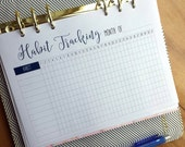 Printed A5 Habit Tracker Printed Planner Inserts | Monthly Habit Tracking | A5 inserts large Kikki K Filofax planner refill