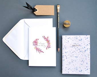 Happy Birthday Card, Flower  Greetings Card, Illustrated Birthday Card, Floral Wreath Card, Watercolour Card, Minimal Birthday Card,