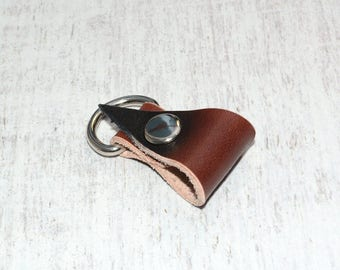 Brown Leather Headphone Holder // Leather Earphone Organizer - Cord Keeper - Cable Organizer - Earbud Holder - Leather Cord Holder