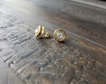 Handmade .40 Caliber Bullet Post Earrings with or without Swarovski Crystals Bullet Earrings