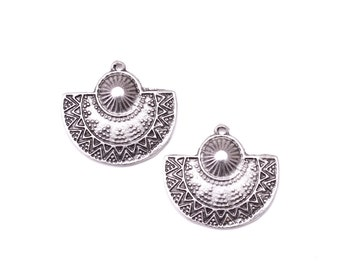 Ethnic Tribal Half Circle Pendant, Antique Silver Tribal Pendant, Earring Findings, 2 pcs