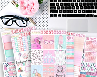 Vacation Vibes No White-Space Weekly Kit - Planner Stickers