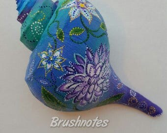 Painted Seashell, Conch shell, Seashell art, Seashell painting, purple flowers, original art, teal, blue, white shell painting