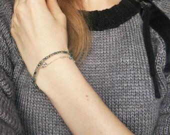 Real Diamond Bracelet, Beaded Bracelet, Diamond, Cubic Zirconia Gold FIlled, Gold Filled Bracelet, Delicate Bracelet