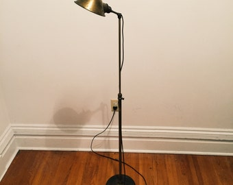 Faries Brass Industrial Floor Lamp - 1920s - Articulating - Antique - Vintage - Rare - Medical