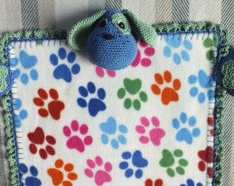 Fleece lovey blanket, for baby or toddler, with crocheted doggie details.