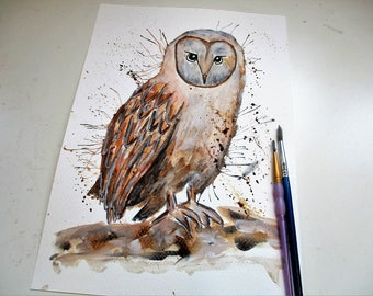 Owl original watercolour, original watercolor, owl painting,  owl art, owl original, wildlife art, bird art, owl