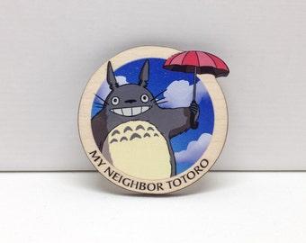 My beighbor Totoro wooden brooch - Miyazaki, studio Ghibli, kawaii, cute, geek, original, japanese, Japan, lasercut