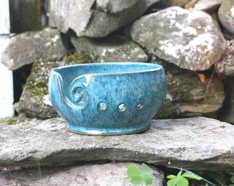 Teal Speckled VERTIGO Yarn Bowl~Knitting Bowl~ Handmade in Studio ~ Ready to ship !!!