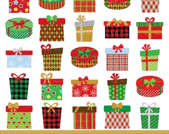 Christmas Gifts Clip Art, Christmas Presents Clipart, Christmas Gift Boxes Clipart, Digital Download Vector Clip Art