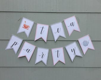 Tea Party Printable Banner, Tea Party Decorations, Tea Party Decor, Tea Party Sign, Gray and Pink Polka Dot, Bridal Shower, Baby Shower