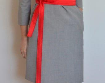 Red Obi belt, Red women's reversible belt, Extra long belt, Gift for mother, sister, Elegant belt, Fabric belt, Wedding belt, Red satin belt