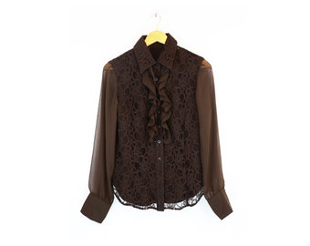 Vintage Brown Lace and Ruffle Sheer Sleeve Button Down Top