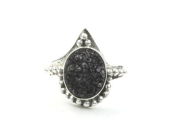Atticus Ring, Sterling Silver Black Drusy Ring, Druzy Jewelry, Gemstone, Boho, Gypsy, Wiccan, Hippie, Spiritual