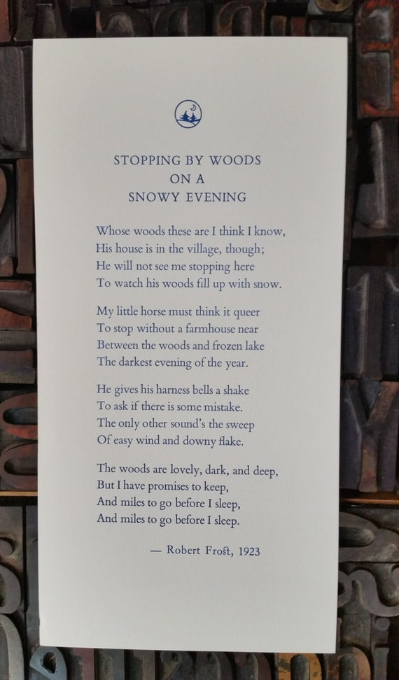 Essay on stopping by woods on a snowy evening