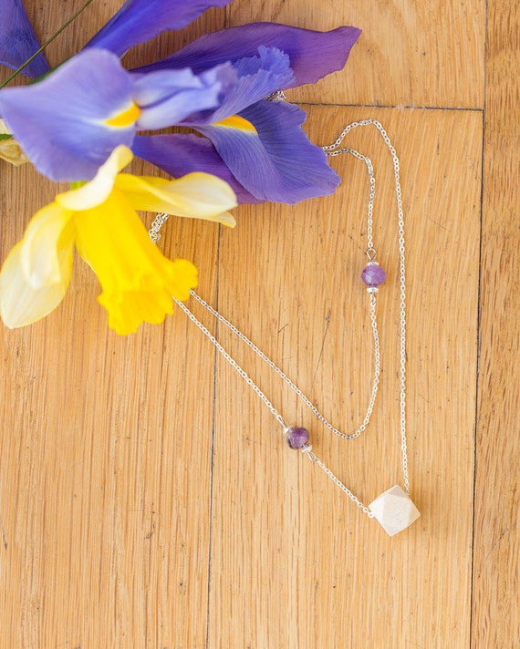 Layered Double Gemstone Diffuser Necklace (Silver)