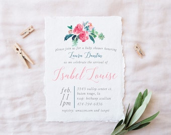 Floral Baby Shower Invitation -- Baby Girl